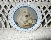 Vintage 1989 Herrero Cat and Teddy Bear Plate Made by Vandor