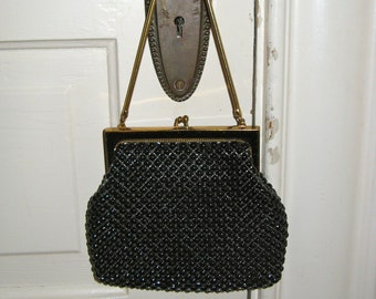 Whiting & Davis Handbag - 1960's- Black Enamel Mesh Purse Excellent Condition - Vintage