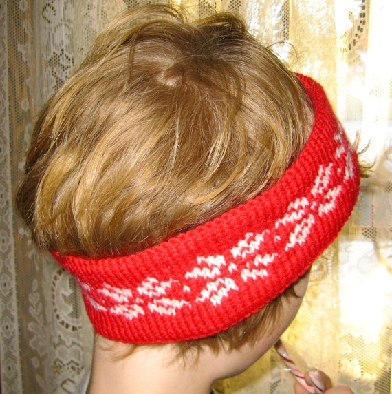 Nordic/ Scandinavian Knit Snowflake Headband in Red and White Wool- Ladies Medium Size
