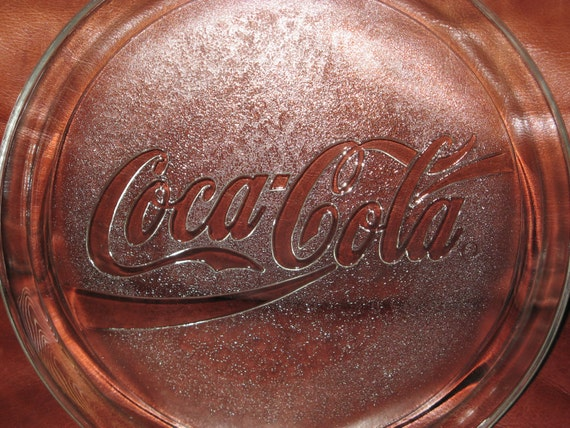 Vintage 1990 13 Inch Round Coca Cola Glass Serving Tray
