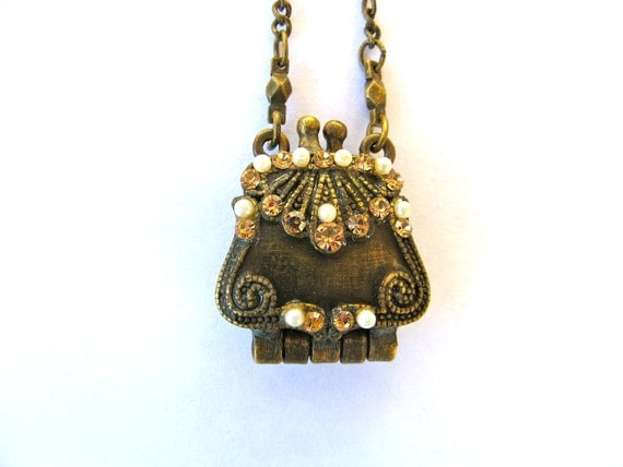 Vintage VCLM Purse Locket With Pearls and Champagne Rhinestones on Antique Look Chain