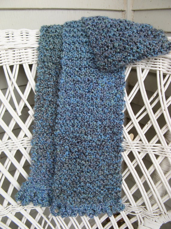 Knit Scarf Pattern Homespun Yarn : Homespun Hand Knit Scarf in Blue by skybluewater on Etsy