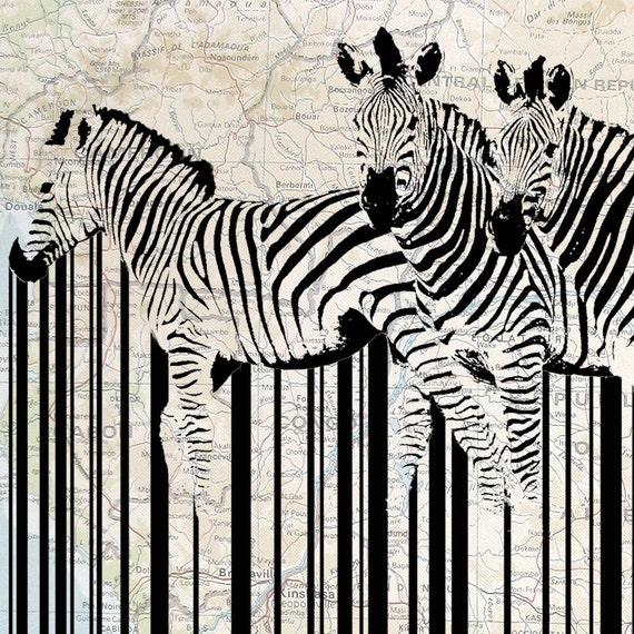 Vintage Map Original Art Illustration Art, Graphic Design Print: African Zebra Barcode11X14