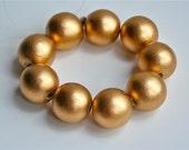 Supply, Bead, wood, metallic gold, 20mm round, 9 pieces, Jewelry, Craft, Art supplies, S12