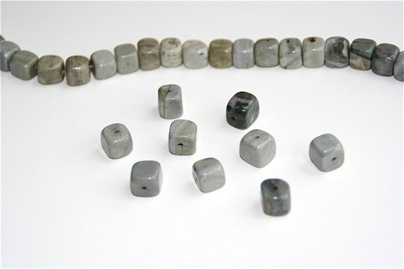 Jasper Beads, Color - Gray with Matrix, Shape - cube and rectangle 6x6mm-9x8mm, 16-inch strand