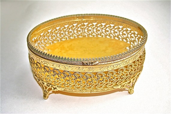 Vintage brass trinket box, vanity casket, footed jewelry box, brass filigree with glass lid display, collectable