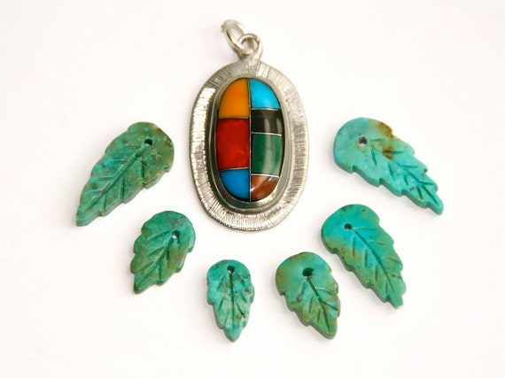Pendant Crafted in Mexico, Artisanal Mosaic, AND Genuine TURQUOISE Beads, 6 Carved Leaves, Ethnic Jewelry Bead Supply, S67