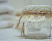 Mini Jam Jar baby shower gift with Lemon Yellow gingham covers. DIY Wedding favours favors