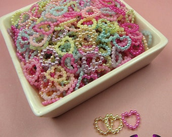 50 Pcs Pearlized Beaded Heart Decoden Kawaii Flatback Resin Cabochons 11x11mm