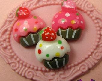 6 Pcs Cupcake Cup Cake Sweets Decoden Kawaii Flatback Resin Cabochons 16 x 18 mm
