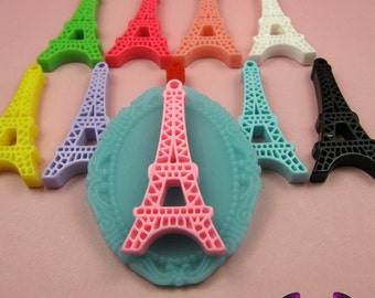 5 pieces Paris EIFFEL TOWER Resin Flatback Cabochon or Charm 47 x 23 mm
