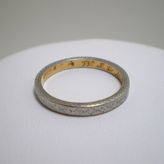 Antique Engraved Wedding Band Yellow and White Metal