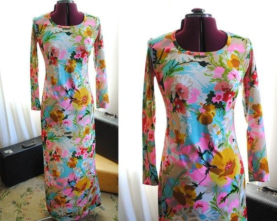 Long sleeve tropical dress