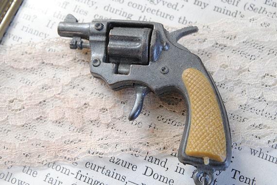 Vintage Revolver Keychain Miniature Gun jewelry supply pistol charm
