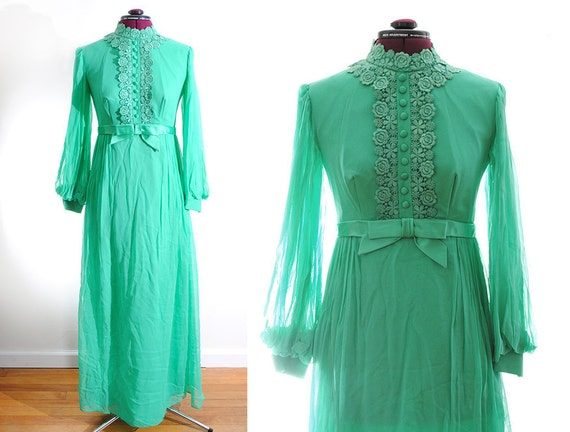 Vintage 1960s Green Bridesmaid Dress with Veil Small Chiffon Mod Wedding Prom