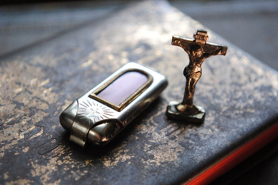 Antique Pocket Shrine with Crucifix WWII era Religious Germany Cross