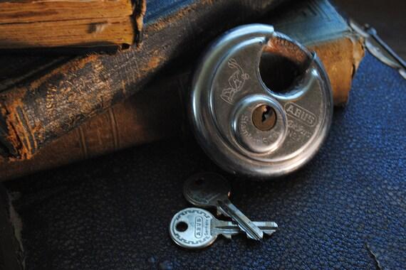 Vintage ABUS Padlock Diskus Lock with Two Keys Industrial 1980s Round