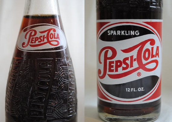 Vintage 1950s Pepsi Cola Unopened Glass Bottle Full Collectable