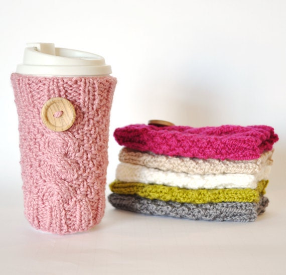 READY TO SHIP- Knitted Cable Travel Mug Cozy