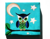 Blue Baby Owl, Original Acrylic Painting on Canvas, Crescent Moon and Stars