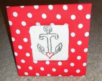 Embroidered Anchor in Polkadot Frame