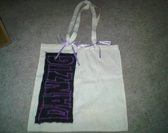 Danzig tote shopping bag - 100% cotton - with lilac ribbons and diamante skull charm