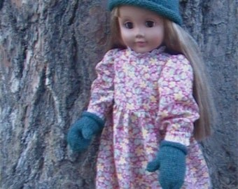"""001 Knit rolled hat and mitts pattern for 18"""" American girl doll"""
