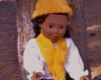002 Knit Pattern of hat and scarf for American Girl doll