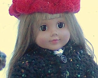 008 Knit Pattern of Entreloc Beret for American Girl doll