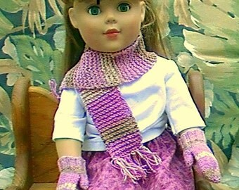 "009 Knit mitts and scarf pattern for 18"" American girl doll"