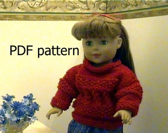 """021 Knit Pattern for 18"""" doll cherry red cable gansey pullover"""