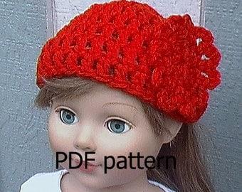 029 Crocheted flower hat for American Girl doll