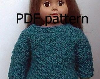 "028 Moss stitch Knit Pattern for 18"" doll"