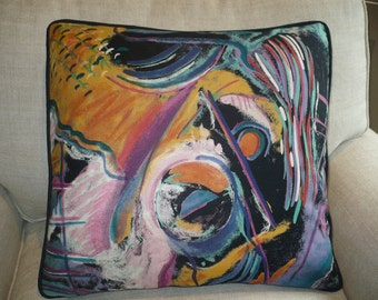 Jab ABSTRACT SEA LIFE Pillow w/Contrast Black Cording
