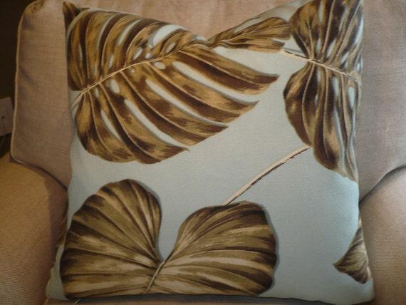 KRAVET TROPICAL LEAVES Pillow Cover W/Natural linen back