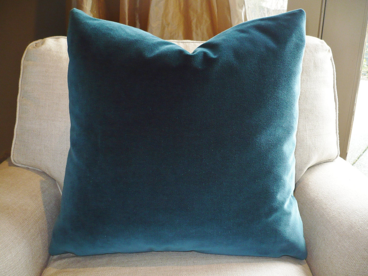 Sumptuous Deep Teal Velvet Pillow W Feather Insert