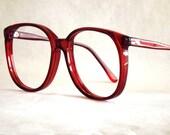 Huge Preppy Red Eyeglasses Frames - Vintage Eyewear - Womens Round Translucent Red 80s Vintage New Old Stock Frames