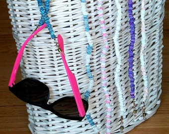 Puka Bead Eyeglass Leash, Vintage Eyeglasses Chain, Eyewear Lanyard or Chunky Necklace