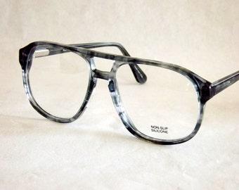 Aviator Eyeglasses, Vintage 80s, Macho Mens, Tortoise Shell, Grey, New Old Stock Frames