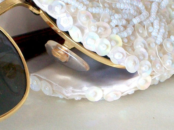 Pearl and Sequin Beaded Eyeglasses Case or Evening Clutch Vintage 50's
