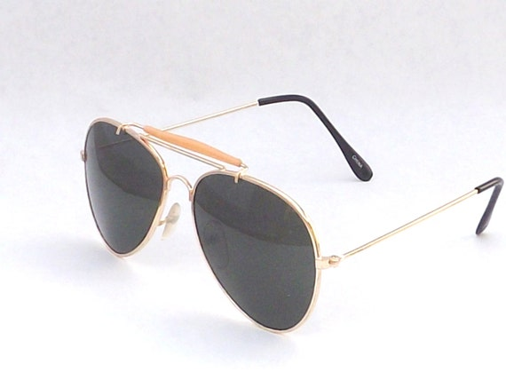 Gold Metal Aviator Sunglasses Vintage 80's Never Worn / Rayban Knockoff's