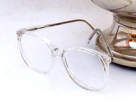 huge preppy totally clear eyeglasses frames vintage eyewear womens round translucent white 80s vintage