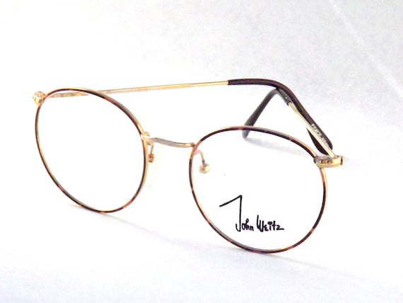 vintage gold wire tortoise shell eyeglasses 80s designer