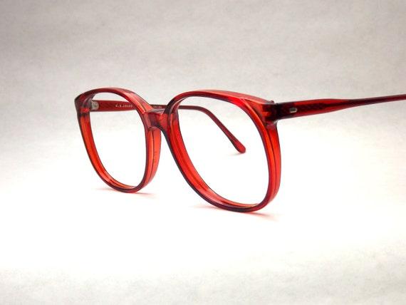 Huge Preppy Brown Eyeglasses Frames - Vintage Eyewear - Womens Round Translucent Brown 80s Vintage New Old Stock Frames