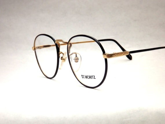 Vintage Big Black and Gold Round Wire Eyeglasses - 1980s Eyewear - Womens Preppy Metal Round New Old Stock Frames