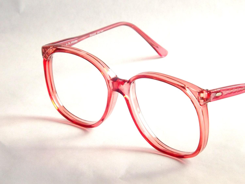 big preppy pink eyeglasses frames vintage eyewear womens