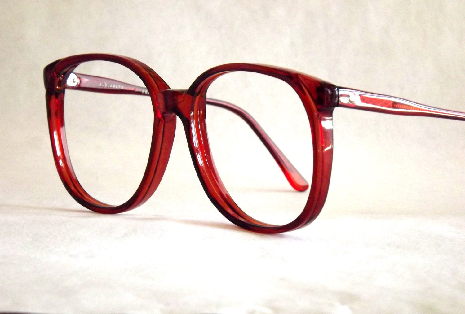 Eyeglass Frames On Your Picture : Huge Preppy Red Eyeglasses Frames Vintage Eyewear Womens