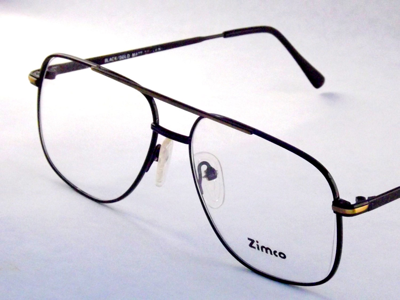 Glasses Frames Metal : Mens Aviator Eyeglasses Black Gold Metal Eye glasses 80s