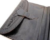 Vintage Genuine Leather Black Handtooled Aztec Wallet