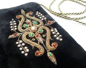 Vintage Black Velvet Bullion Embroidered Beaded Shoulder Bag / Clutch w Pearl Detail